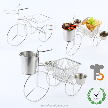 French Food Serving Rack Tricycle Food Service Basket Pail Desk