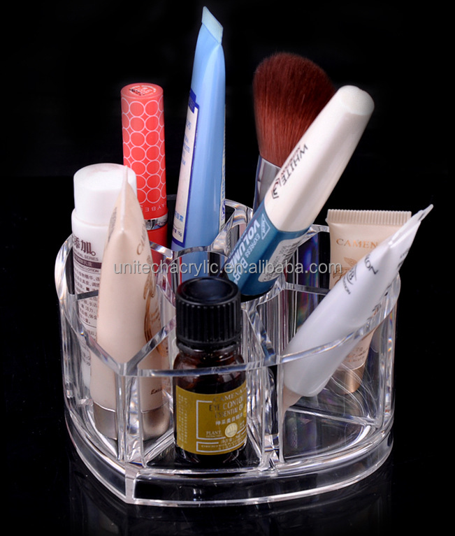 Different size shape clear acrylic/PMMA makeup organizer