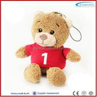 teddy bear plush toys key chain with red tshirt