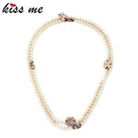 Fashion Flower Rhinestone Bride Pearl Wedding Beads Necklace Jewelries
