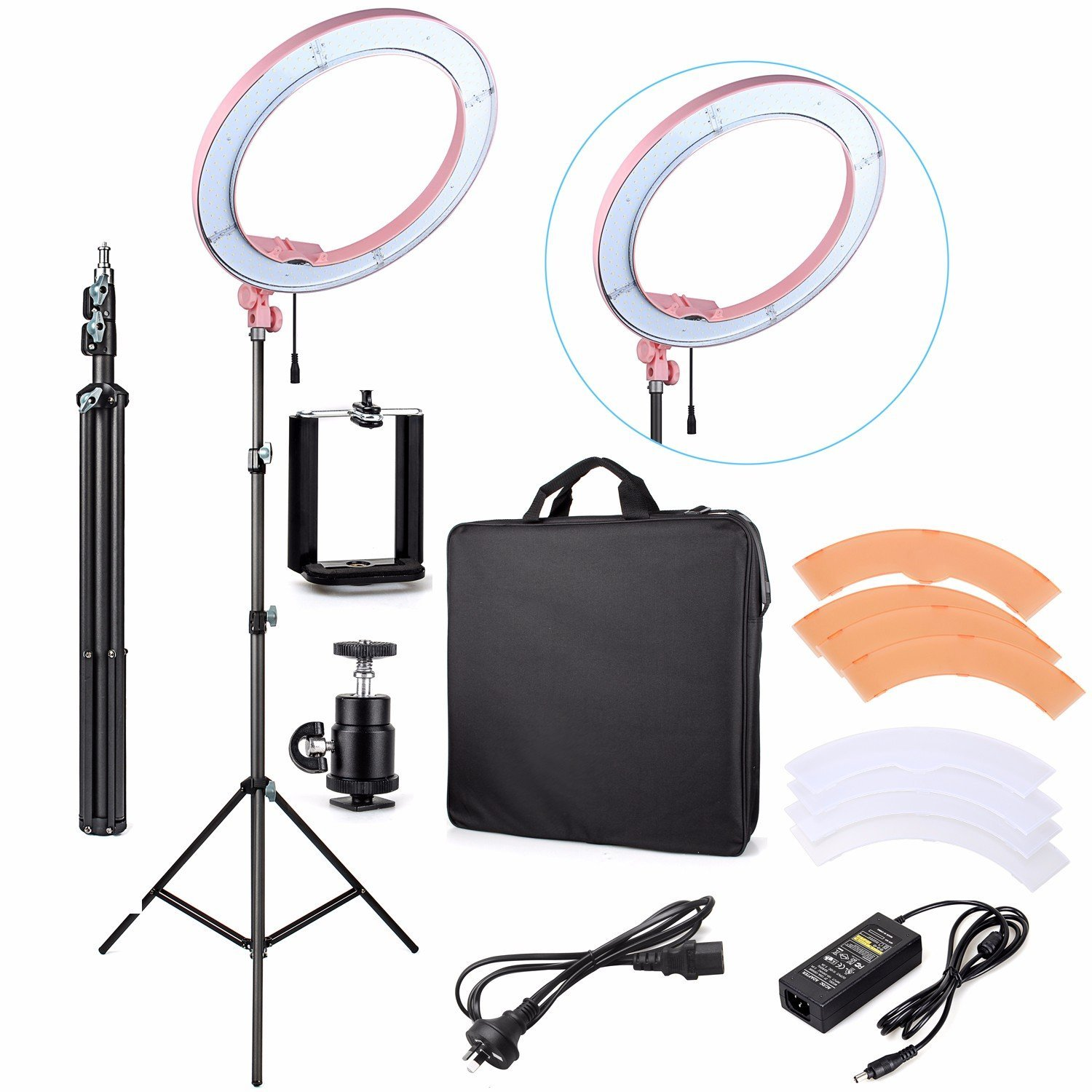 "EACHSHOT ES240 Kit, {Including Light, Stand, Phone Clamp, Tripod Head }240 LED 18"" Stepless Adjustable Ring Light Camera Photo/Video Portrait photography 240pcs LED 5500K Dimmable (Pink)"