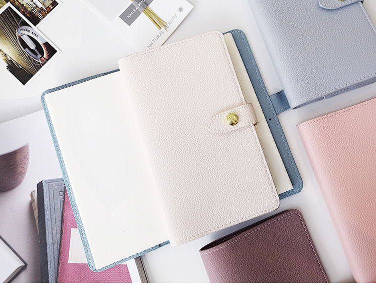 Logo Customized Simple Design Unique Color Genuine Feeling Notebook With Metal Clasp