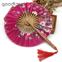 Amazon eBay Aliexpress Chinese nylon fabric hand held custom folding fans with pouch for wedding