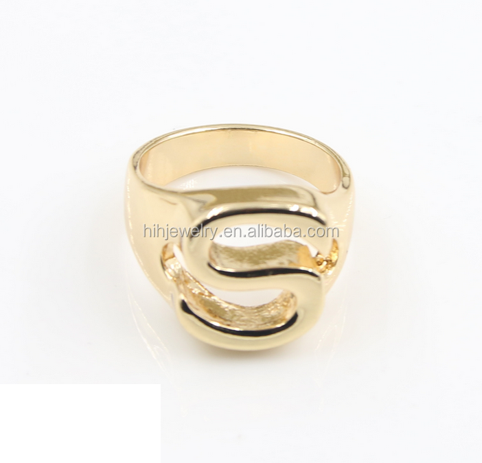 Fashion Monogram Jewelry Gold Plated Alphabet Letter Finger Ring
