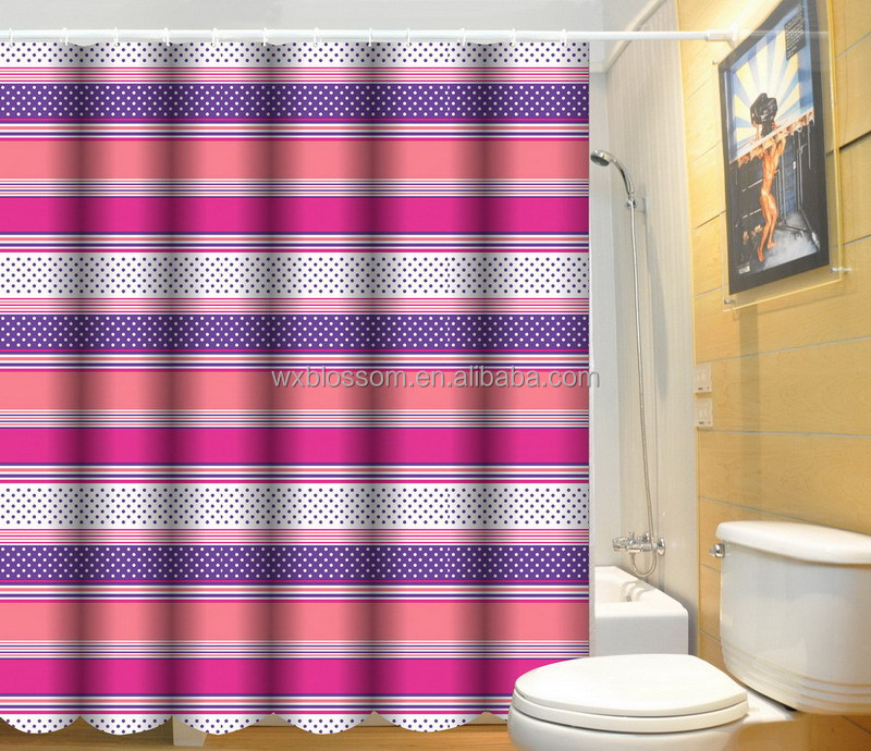 New fashion wholesale bathroom printing finished shower curtain