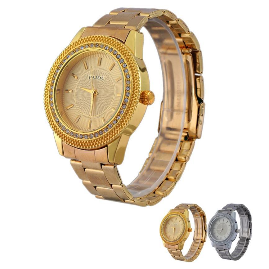 New Design Luxury Mens Watches Diamond Dial Gold Steel Analog Quartz Wrist Watch Relogio Masculino Shock Relojes fee shipping