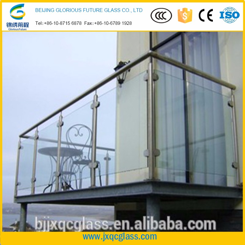 customized large high performance 15mm toughened balcony glass curtain with long functional life