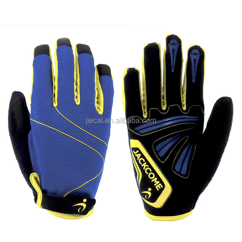 Spandex fabric high quality wearable bike gloves silicon print full finger cycling gloves