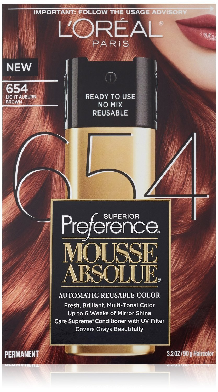 L'Oreal Paris Superior Preference Mousse Absolue Automatic Reusable Color, Light Auburn Brown [654] 3.2 oz (Pack of 2)