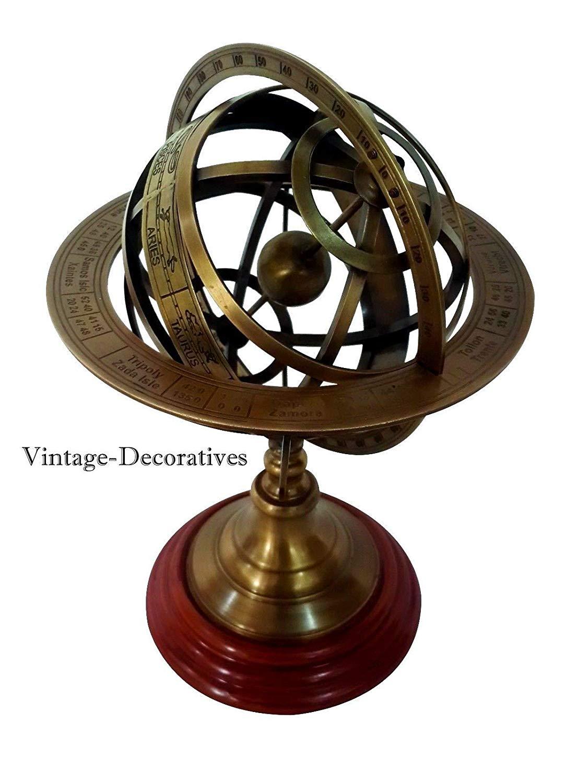 "Arsh Nautical Solid Brass Armillary Sphere Handmade Vintage Astrolabe Table Top Armillary 12"" A"