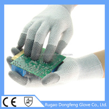Top 13 Gauge Antistatic Gloves PVC Dotted Palm& Back Both Sides / Fingertips Coated Work Glove