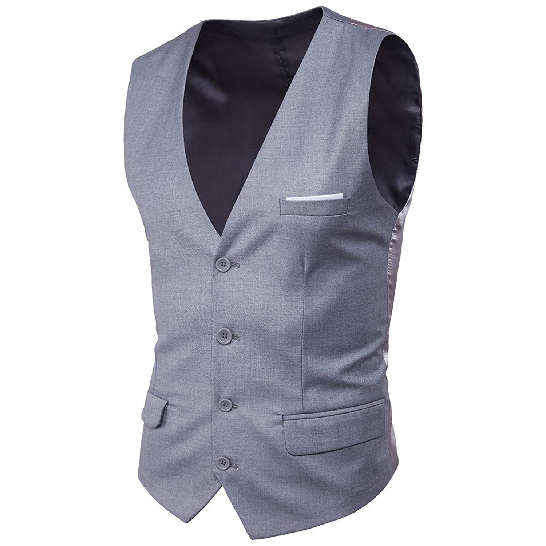 Spirio Mens Single Breasted Business Sleeveless Waistcoat Stylish Dress Vest