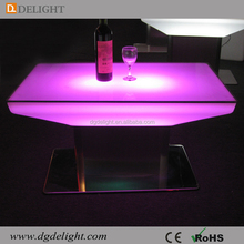 2017 Hot Sale Glowing LED Furniture Glass Top LED Bar Table for Nightclub and Bar