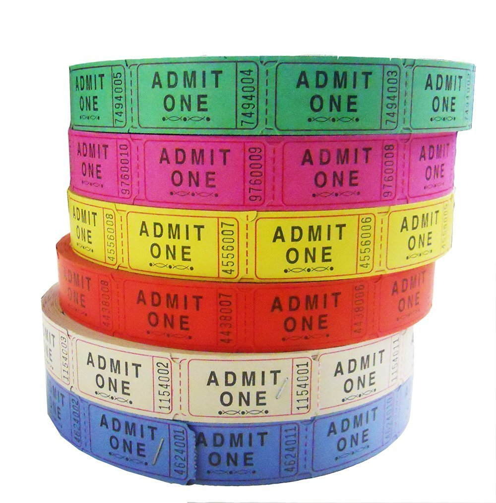 Admit One Single Ticket Roll, Assorted Colors, 4 Rolls/Pack GEN22410