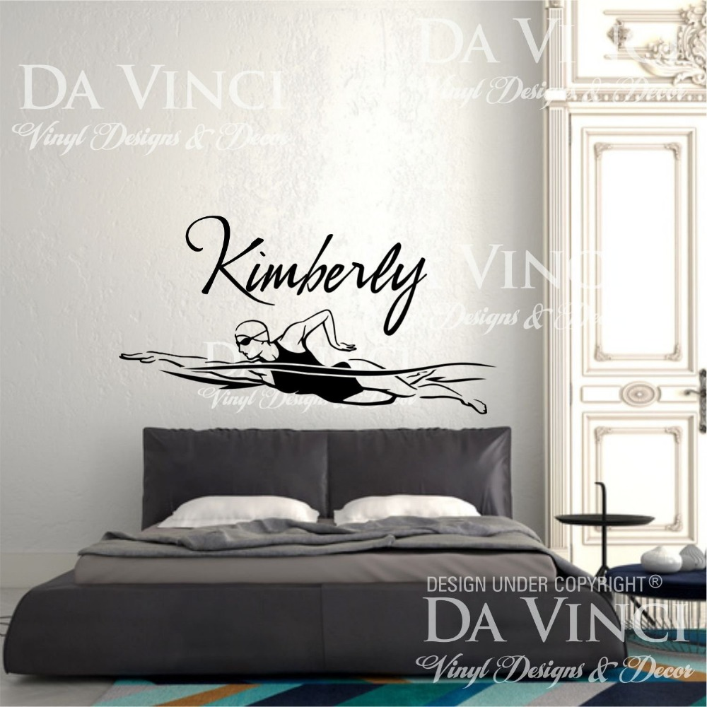swim swimmer swimming vinyl wall decal custom girl name. Black Bedroom Furniture Sets. Home Design Ideas