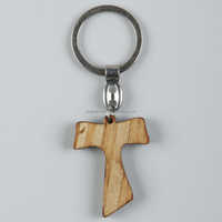 Chinese fashion new design christian durable gift key chain wood