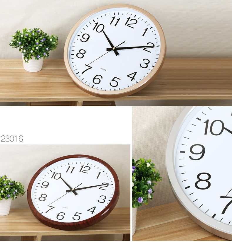 14'' sweeping hands soundless quartz clock with plastic frame 35cm room decoration silent wall clock with customized dial