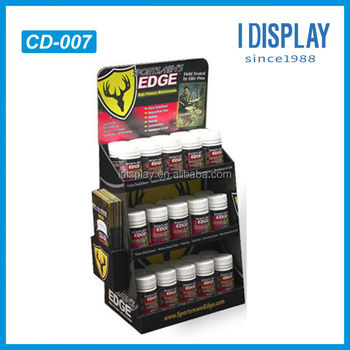 Tabletop Cardboard Display Stands For Vitamin Bottles 3 Tier Table Top