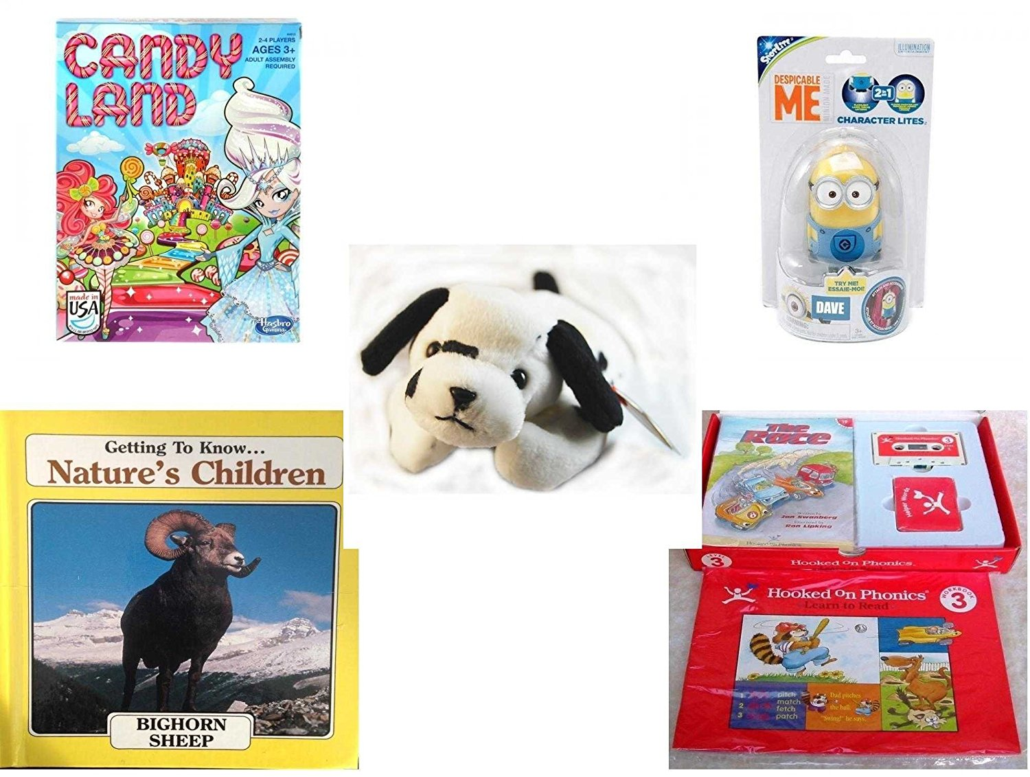 Children's Gift Bundle - Ages 3-5 [5 Piece] - Candy Land Game - Tech4Kids Despicable Me Character Lite Dave Toy - Ty Beanie Babies - Dotty the Dalmatian Dog - Getting to Know Nature's Children: Bigh