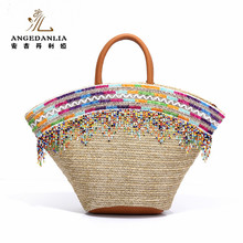 Fashion colours tassels straw basket seagrass straw bag for tote bag