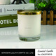 frosted white glass candle jar with metal gold lid