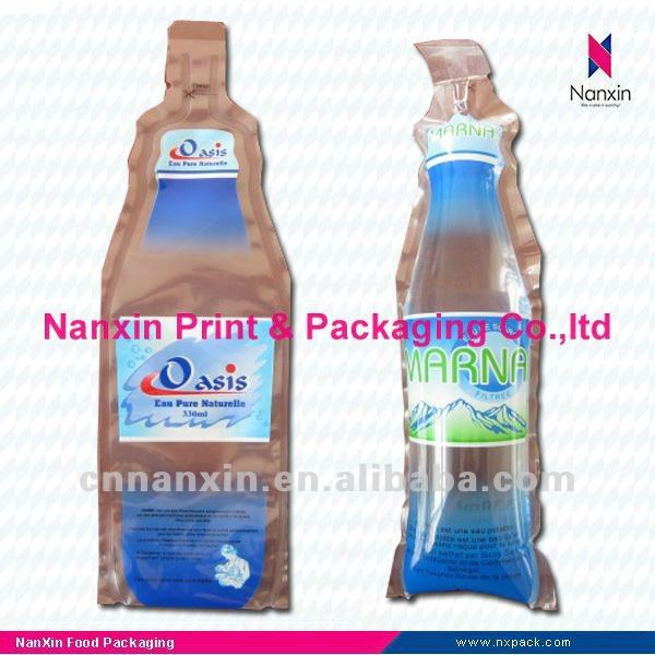 disposable plastic water pouch bottle shape