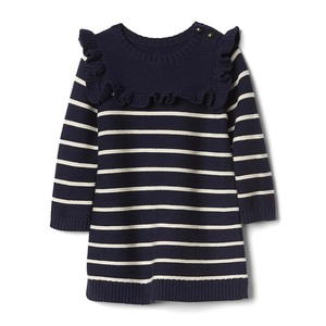 Boutique children's clothing simple stripe girls sweater dress baby girl party dress kids frocks designs sweater ruffle dress