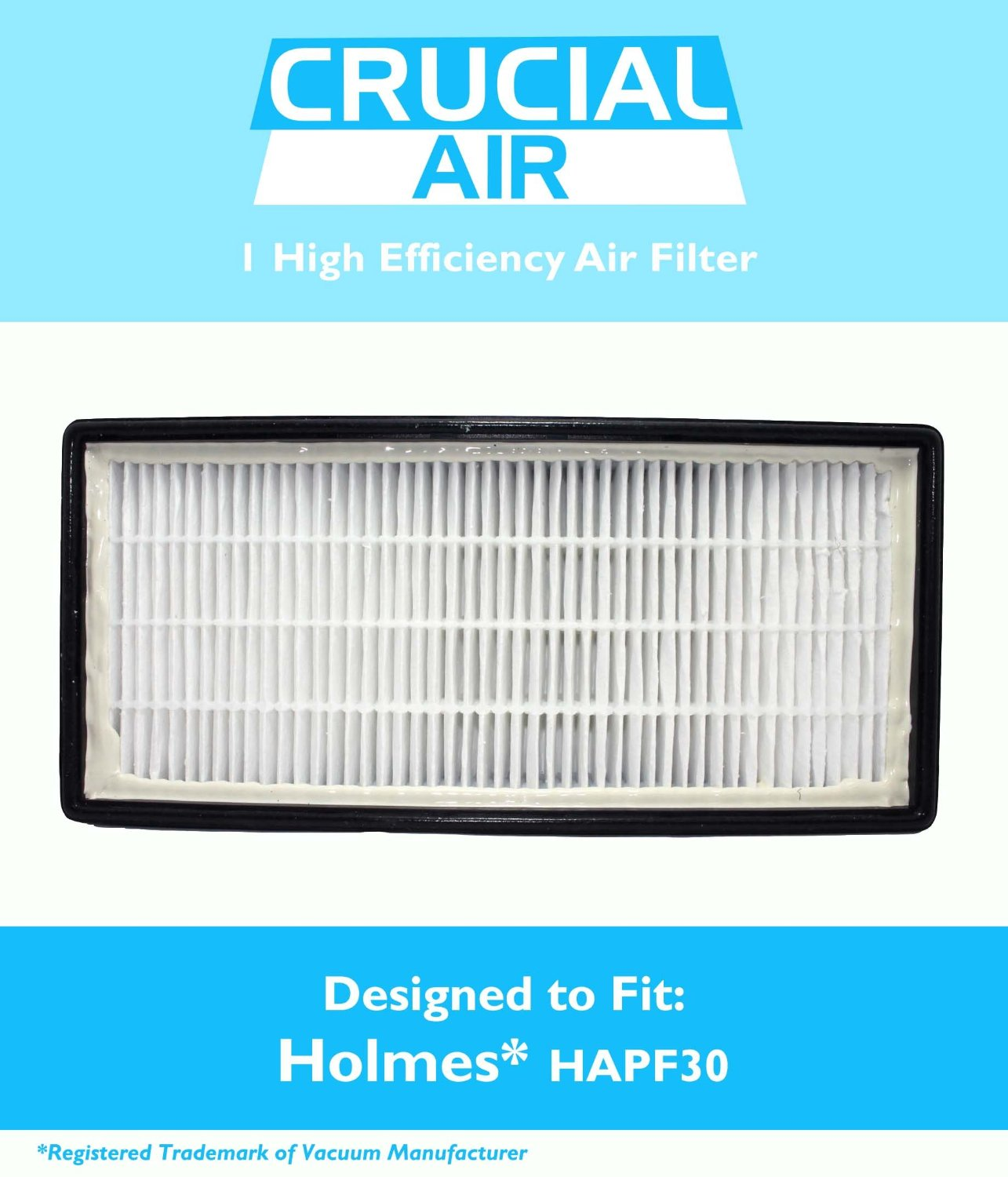 1 Holmes HEPA Air Cleaner Filter Designed To Fit Holmes, HoneyWell, VICKS, Compare To Filter Part # 16216, HRC1 & Holmes Part # HAPF30, HAPF30D, Designed & Engineered by Crucial Air