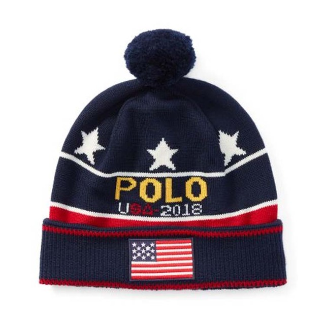 POLO RALPH LAUREN (Lauren) caps knitting Hat pony logo embroidered Beanie  Hat NEEDLE FELTED POLO PONY HAT (BLACK/RED / black) 6F0412-002