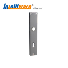 Silver 221mm aluminum door handle cover plate with lever key hole