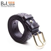 2017 Casual handcrafted cowhide leather braided belt for men