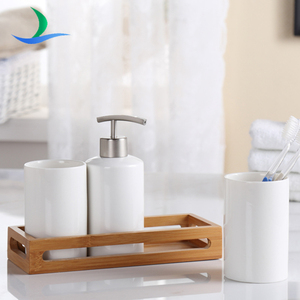 Promotional plain white 3pcs ceramic set and bamboo tray bath accessories