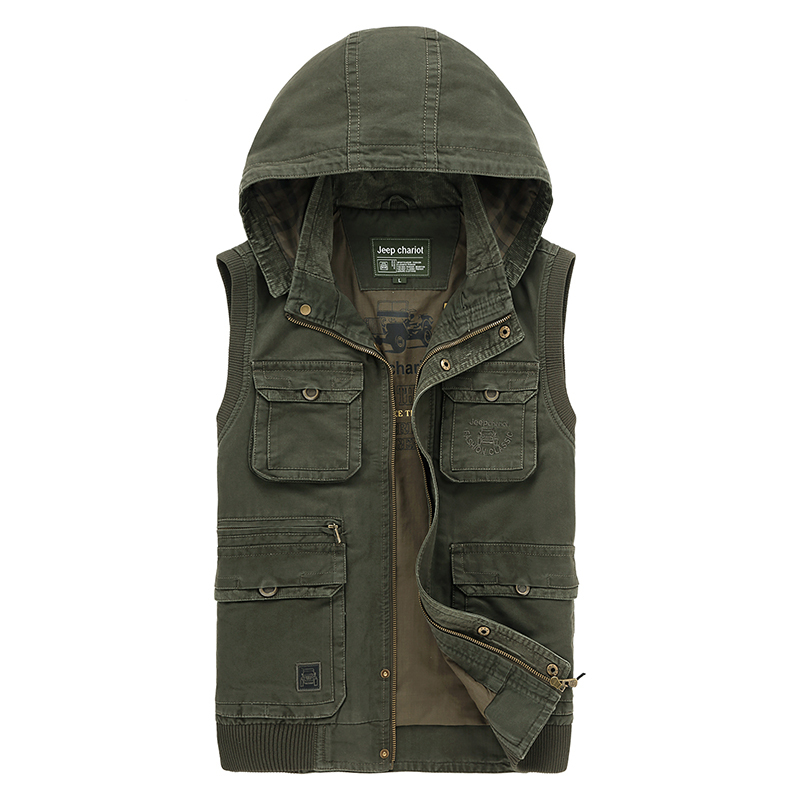 Green army vest men outdoor camping hunting photography mens vest with many multi pockets sleeveless hoodie vest Chaleco Gilet
