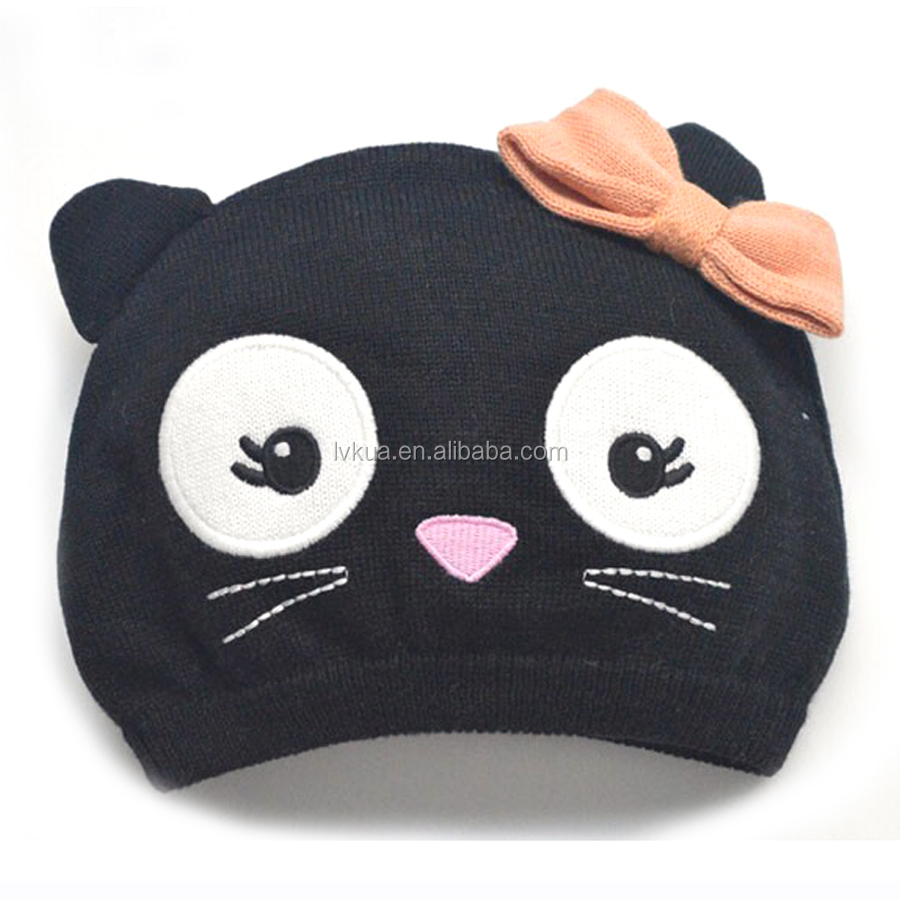 2016 Cute Soft Children Winter Knitted Cat Hat Baby Girl's Beanies Skullies Bomber Hats