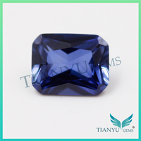 Wholesale Loose Synthetic Colored Gems #33 blue Octagon Cut Corner Sapphire Lab Creat Corundum gemstone price