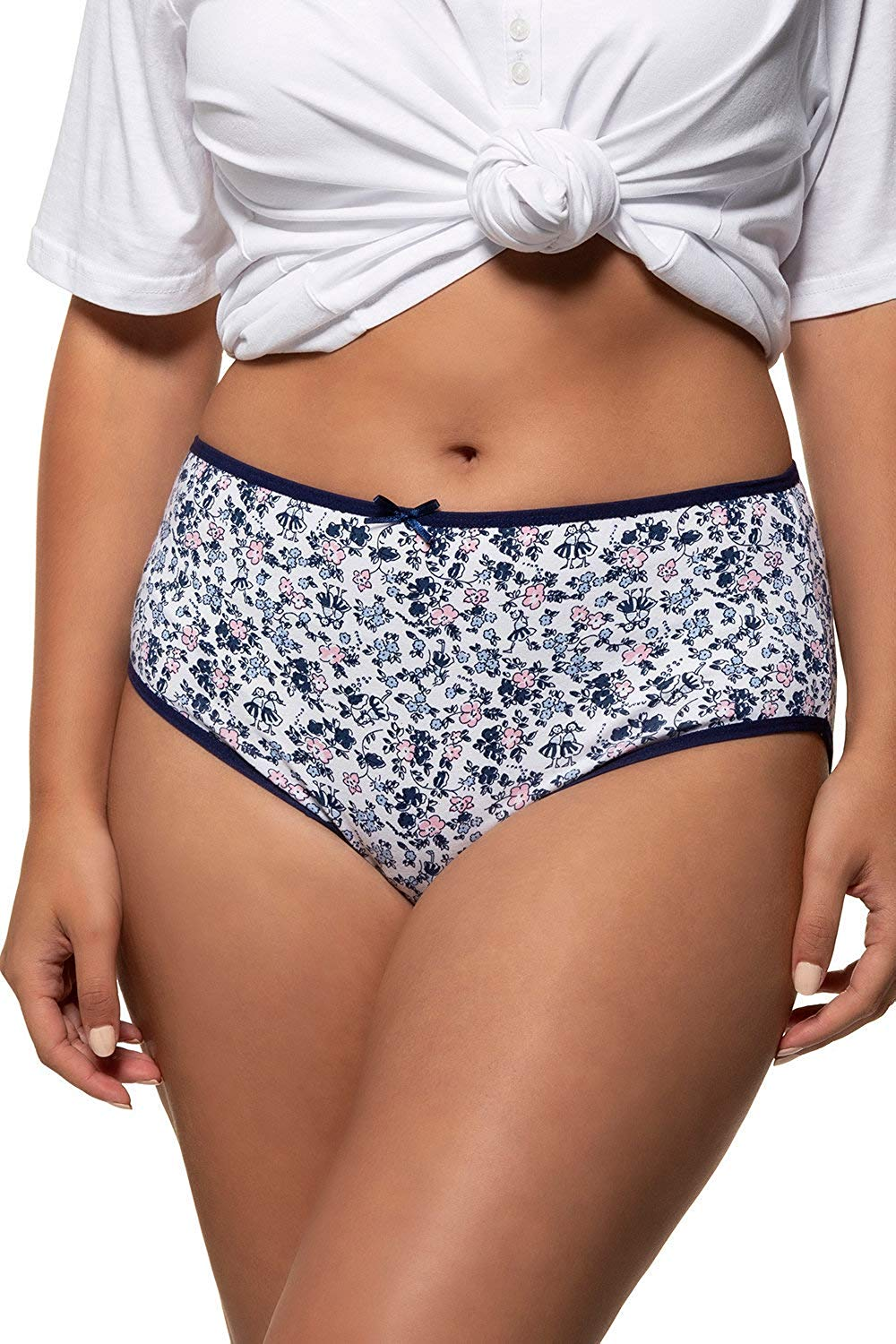 Get Quotations · Ulla Popken Women s Plus Size 5 Pack of Stretch Cotton  Panties - Blue Floral 39608aacc