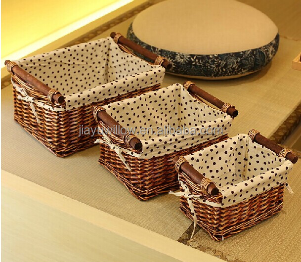hotsale cute brown set 3 small wicker basket storage rectangular wicker storage basket with wood handle