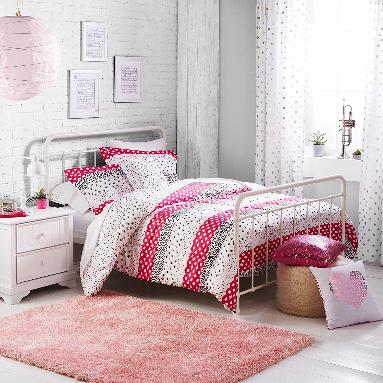 3 Piece Kids Pink Multi Geometric Stripes Pattern Comforter Twin Set, Stylish Boho Chic Textured Print, Features Tiny Stripe Lines, Bold Circles & Diamond Shape Design, Reverse Bedding, Splash Colors