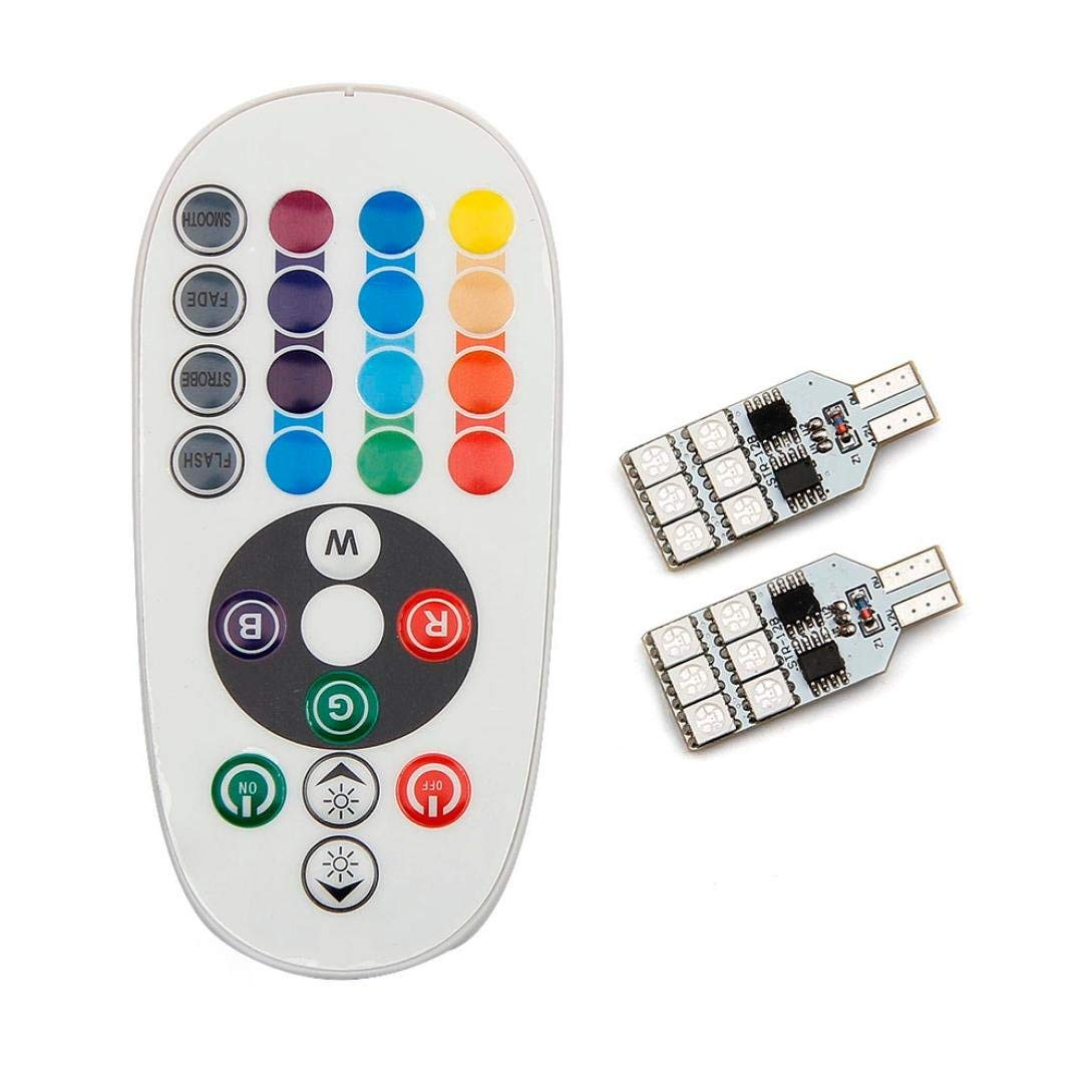 Leewos 2 Xt10 LED Car Light Wedge Reading Lamp 16 LED Colors Bulb With Remote Control