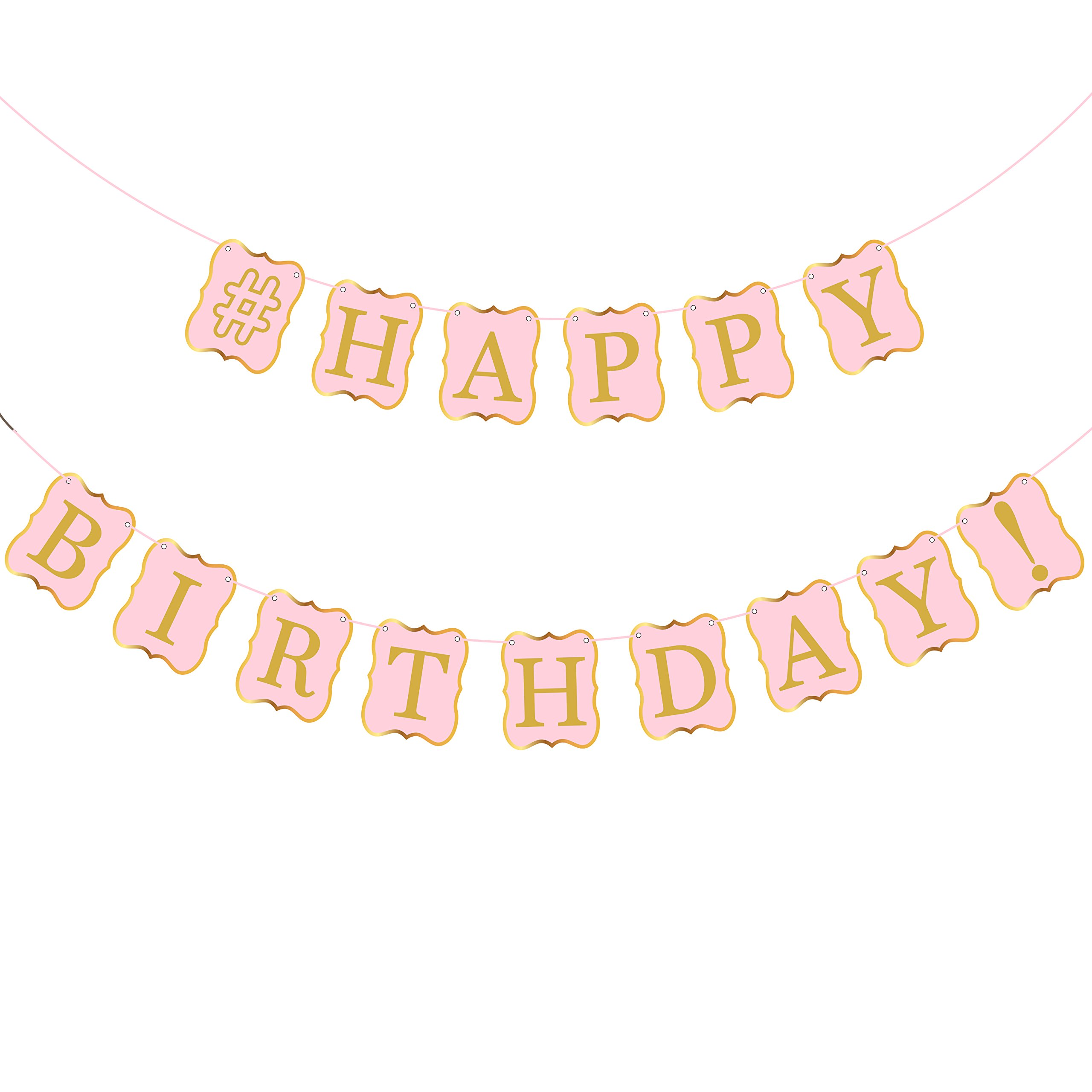Pastel Pink Happy Birthday Banner - Pink and Gold Birthday Party Decorations - Premium Gold Foiled Shimmering Happy Birthday Letters and Borders | Pink Birthday Party Supplies or Girl Boy Men Women