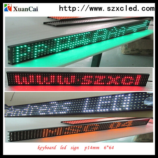 xuancai P14-6x64 MULTIPLE COLOR ALIBABA WEBSITE NEWEST PRODUCT WIRED KEYBOARD LED SCROLLING SIGN