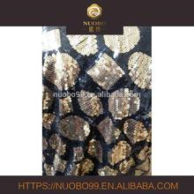 gold and black sequin embroidery fabric fashion geometric figure