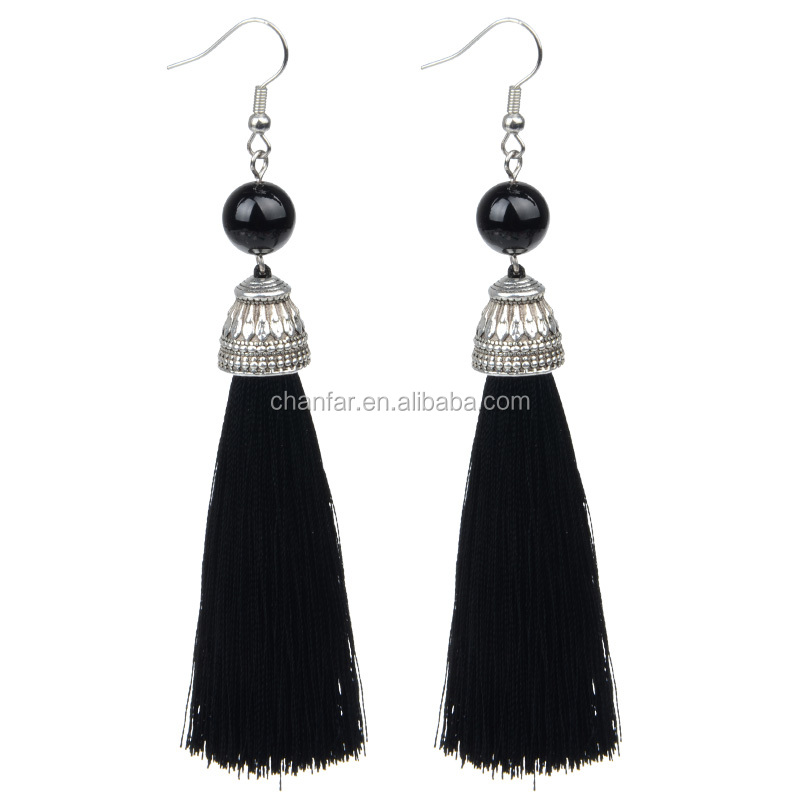 Silk Long Tassel Earring with Natural Stone Charm Pendant Drop Earring for Women