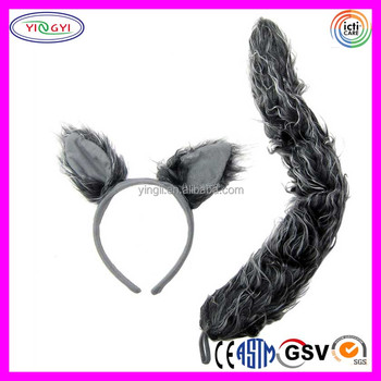 c057 wolf ears headband tail set gray halloween mask party favor plush halloween wolf mask