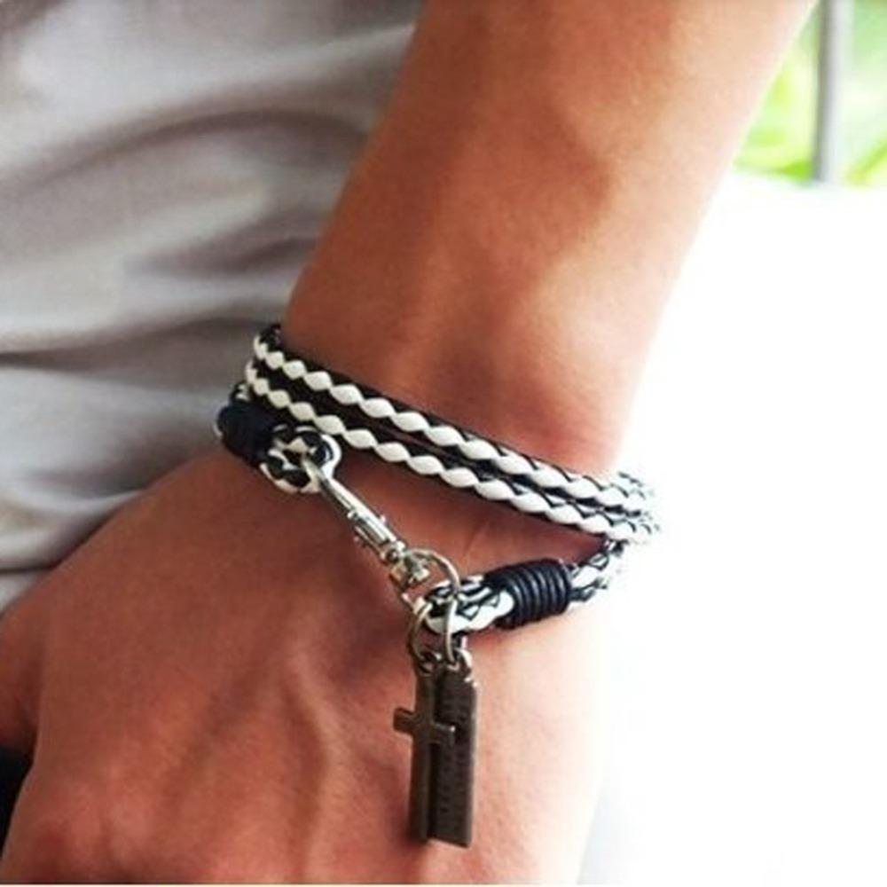 Lackingone лето ювелирные изделия мужчины ювелирные изделия 4 мм кожа браслет мужчины крестики браслеты для женщины лучший друг подарок