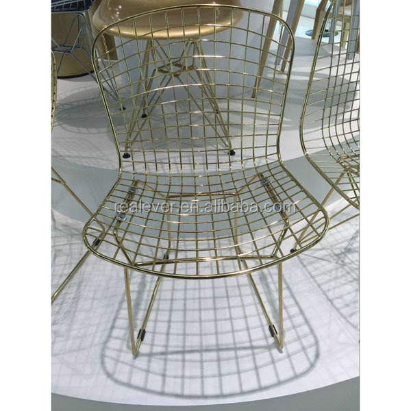 wholesale modern design New golden color metal wire chair