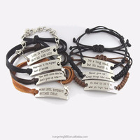 Wholesale fashion charm bracelet New leather alloy anchor leather bracelet for girl and boy
