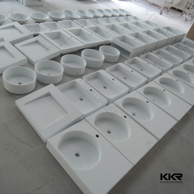 Wash basin ,acrylic solid surface basin White cultured marble vanity tops and sink
