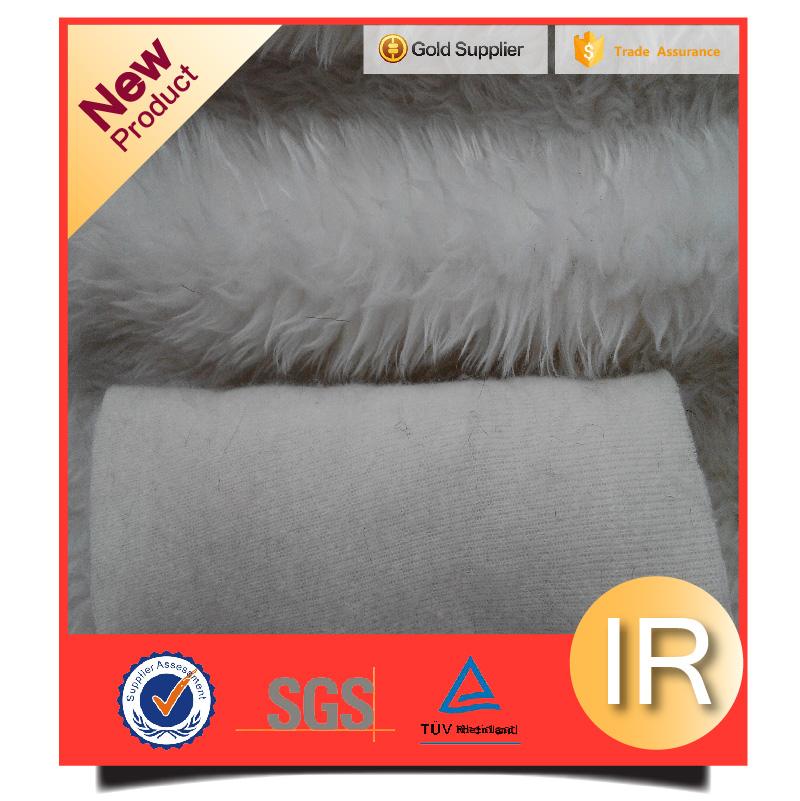 100%acylic artificial fur fabric pure white drop-water long hair fur