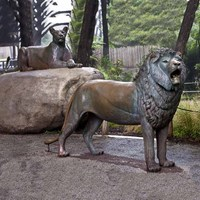 western abstract metal craft bronze lion sculpture decor garden or home yard